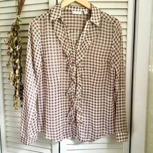 {New York & Co} Gingham Brown Button Down Blouse